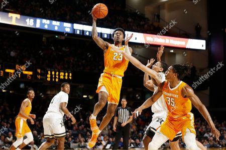 Tennessee guard Jordan Bowden (23) drives against Vanderbilt in the first half of an NCAA college basketball game, in Nashville, Tenn