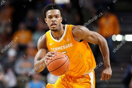 Tennessee guard Josiah-Jordan James plays against Vanderbilt in the first half of an NCAA college basketball game, in Nashville, Tenn