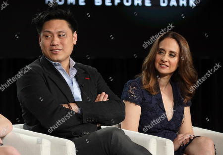 "Jon M. Chu, Dara Resnik. Jon M. Chu, left, and Dara Resnik speak at the ""Home Before Dark"" panel during the Apple+ TCA 2020 Winter Press Tour at the Langham Huntington, in Pasadena, Calif"