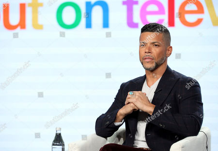 """Wilson Cruz speaks at the """"Visible: Out on Television"""" panel during the Apple+ TCA 2020 Winter Press Tour at the Langham Huntington, in Pasadena, Calif"""