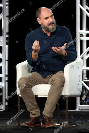 """Loren Bouchard speaks at the """"Central Park"""" panel during the Apple+ TCA 2020 Winter Press Tour at the Langham Huntington, in Pasadena, Calif"""