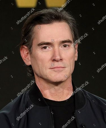 """Billy Crudup speaks at the """"The Morning Show"""" panel during the Apple+ TCA 2020 Winter Press Tour at the Langham Huntington, in Pasadena, Calif"""