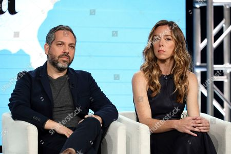 "Lee Eisenberg, Sian Heder. Lee Eisenberg, left, and Sian Heder speak at the ""Little America"" panel during the Apple+ TCA 2020 Winter Press Tour at the Langham Huntington, in Pasadena, Calif"