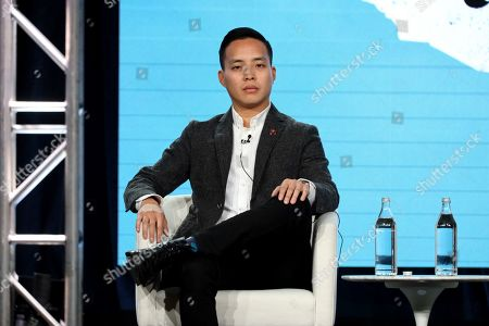 """Alan Yang speaks at the """"Little America"""" panel during the Apple+ TCA 2020 Winter Press Tour at the Langham Huntington, in Pasadena, Calif"""