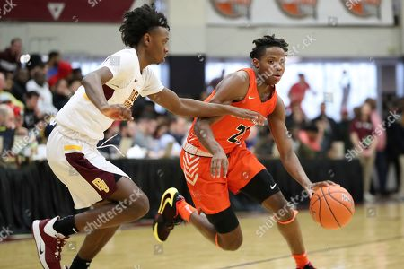 Whitney Young's DJ Steward #21 in action against Mount Vernon during a high school basketball game at the Hoophall Classic, in Springfield, MA