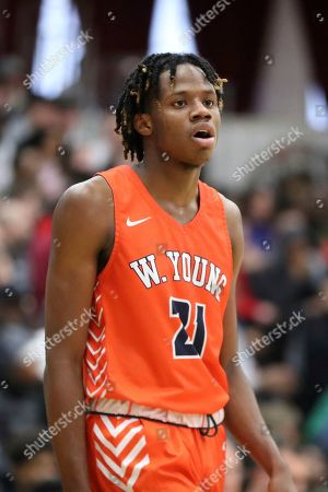 Whitney Young's DJ Steward #21 is seen against Mount Vernon during a high school basketball game at the Hoophall Classic, in Springfield, MA