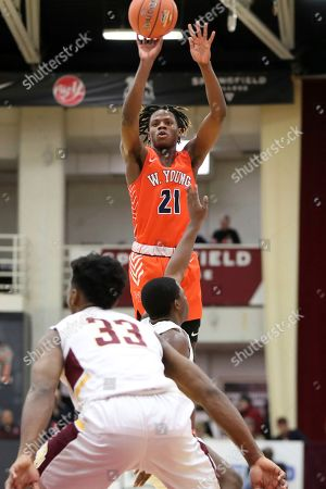Whitney Young's DJ Steward #21 takes a jumper against Mount Vernon during a high school basketball game at the Hoophall Classic, in Springfield, MA
