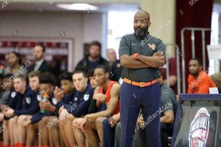 Whitney Young's head coach Tyrone Slaughter is seen against Mount Vernon during a high school basketball game at the Hoophall Classic, in Springfield, MA