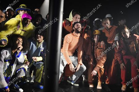 French designer Stephane Ashpool (C) appears on the catwalk after the presentation of his Fall/ Winter 2020/2021 Ready to Wear collection for Pigalle fashion house during the Paris Fashion Week, in Paris, France, 19 January 2020. The presentation of the men's collections runs from 14 to 19 January.