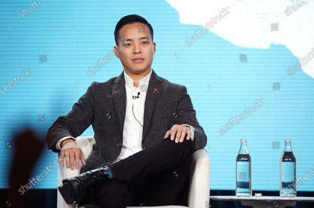"""Alan Yang, Executive Producer, from """"Little America"""" speaks at the Apple TV+ 2020 Winter TCA at The Langham Huntington Pasadena."""