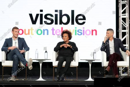 """Ryan White, Director/Executive Producer, Wanda Sykes, Executive Producer, and Wilson Cruz, Executive Producer, from """"Visible: Out on Television"""" speak at the Apple TV+ 2020 Winter TCA at The Langham Huntington Pasadena."""