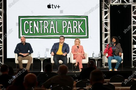 "Loren Bouchard, Creator/Executive Producer, Josh Gad, Executive Producer, Kristen Bell and Daveed Diggs from ""Central Park"" speak at the Apple TV+ 2020 Winter TCA at The Langham Huntington Pasadena."