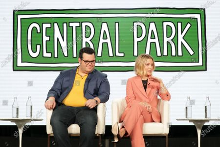 """Josh Gad, Executive Producer, and Kristen Bell from """"Central Park"""" speak at the Apple TV+ 2020 Winter TCA at The Langham Huntington Pasadena."""