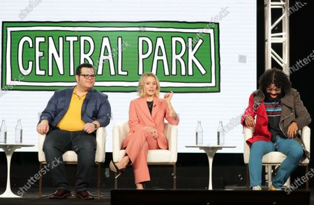 """Josh Gad, Executive Producer, Kristen Bell and Daveed Diggs from """"Central Park"""" speak at the Apple TV+ 2020 Winter TCA at The Langham Huntington Pasadena."""