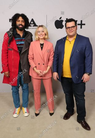 """Daveed Diggs, Kristen Bell and Josh Gad, Executive Producer, from """"Central Park"""" at the Apple TV+ 2020 Winter TCA at The Langham Huntington Pasadena."""