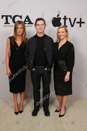 """Jennifer Aniston, Executive Producer, Billy Crudup and Reese Witherspoon, Executive Producer, from """"The Morning Show"""" at the Apple TV+ 2020 Winter TCA at The Langham Huntington Pasadena."""