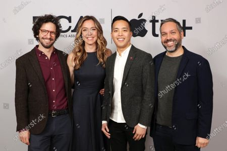"Joshuah Bearman, Executive Producer, Sian Heder, Executive Producer, Alan Yang, Executive Producer, and Lee Eisenberg, Writer/Showrunner/Executive Producer, from ""Little America"" at the Apple TV+ 2020 Winter TCA at The Langham Huntington Pasadena."