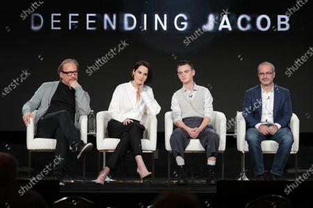 "Morten Tyldum, Director/Executive Producer, Michelle Dockery, Jaeden Lieberher and Mark Bomback, Writer/Executive Producer, from ""Defending Jacob"" speak at the Apple TV+ 2020 Winter TCA at The Langham Huntington Pasadena."
