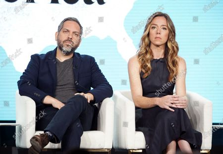 "Lee Eisenberg, Writer/Showrunner/Executive Producer, and Sian Heder, Executive Producer, from ""Little America"" speak at the Apple TV+ 2020 Winter TCA at The Langham Huntington Pasadena."