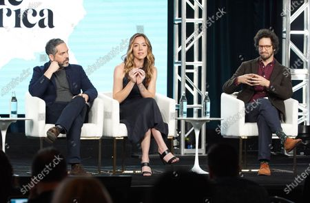 "Lee Eisenberg, Writer/Showrunner/Executive Producer, Sian Heder, Executive Producer, and Joshuah Bearman, Executive Producer, from ""Little America"" speak at the Apple TV+ 2020 Winter TCA at The Langham Huntington Pasadena."