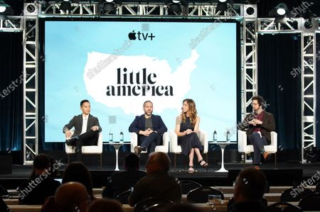 "Alan Yang, Executive Producer, Lee Eisenberg, Writer/Showrunner/Executive Producer, Sian Heder, Executive Producer, and Joshuah Bearman, Executive Producer, from ""Little America"" speak at the Apple TV+ 2020 Winter TCA at The Langham Huntington Pasadena."