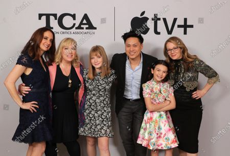 "Dara Resnik, Co-Showrunner/Executive Producer, Joy Gorman Wettels, Executive Producer, Hilde Lysiak, Jon M. Chu, Director/Executive Producer, Brooklynn Prince and Dana Fox, Co-Showrunner/Executive Producer, from ""Home Before Dark"" at the Apple TV+ 2020 Winter TCA at The Langham Huntington Pasadena."