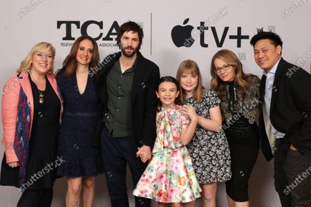 "Joy Gorman Wettels, Executive Producer, Dara Resnik, Co-Showrunner/Executive Producer, Jim Sturgess, Brooklynn Prince, Hilde Lysiak, Dana Fox, Co-Showrunner/Executive Producer, and Jon M. Chu, Director/Executive Producer, from ""Home Before Dark"" at the Apple TV+ 2020 Winter TCA at The Langham Huntington Pasadena."