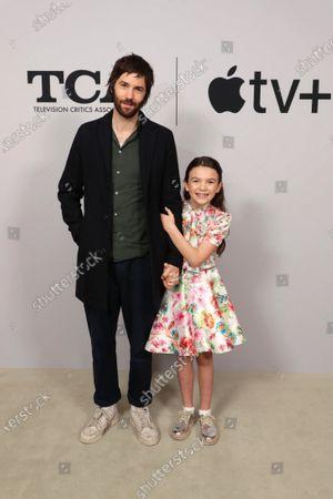 "Jim Sturgess and Brooklynn Prince from ""Home Before Dark"" at the Apple TV+ 2020 Winter TCA at The Langham Huntington Pasadena."
