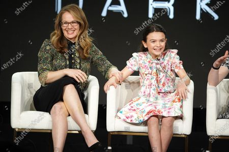 """Stock Picture of Dana Fox, Co-Showrunner/Executive Producer, and Brooklynn Prince from """"Home Before Dark"""" speak at the Apple TV+ 2020 Winter TCA at The Langham Huntington Pasadena."""