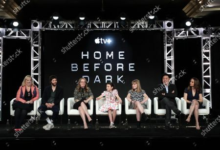 "Joy Gorman Wettels, Executive Producer, Jim Sturgess, Dana Fox, Co-Showrunner/Executive Producer, Brooklynn Prince, Hilde Lysiak, Jon M. Chu, Director/Executive Producer, and Dara Resnik, Co-Showrunner/Executive Producer, from ""Home Before Dark"" speak at the Apple TV+ 2020 Winter TCA at The Langham Huntington Pasadena."