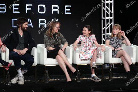 "Jim Sturgess, Dana Fox, Co-Showrunner/Executive Producer, Brooklynn Prince and Hilde Lysiak from ""Home Before Dark"" speak at the Apple TV+ 2020 Winter TCA at The Langham Huntington Pasadena."