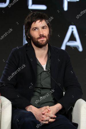 "Jim Sturgess from ""Home Before Dark"" speaks at the Apple TV+ 2020 Winter TCA at The Langham Huntington Pasadena."