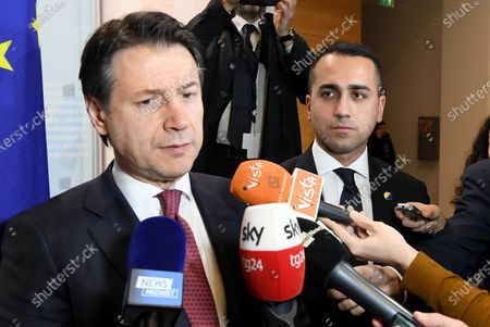 Italian Foreign Minister Luigi Di Maio (R) and Italian Prime Minister Giuseppe Conte (L) talk to the media during a press conference of the International Libya Conference in Berlin, Germany, 19 January 2020. According to media reports the participants of the Berlin Libya summit have committed to a UN arms embargo and guaranteed an end of military support for the civil war parties.