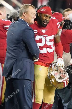 San Francisco 49ers general manager John Lynch, left, celebrates with cornerback Richard Sherman (25) during the second half of the NFL NFC Championship football game against the Green Bay Packers, in Santa Clara, Calif. The 49ers won 37-20 to advance to Super Bowl 54 against the Kansas City Chiefs