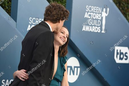 Tricia Travis, Douglas Smith. Douglas Smith, left, and Tricia Travis arrive at the 26th annual Screen Actors Guild Awards at the Shrine Auditorium & Expo Hall, in Los Angeles