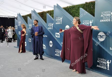 Nancy Travis, O. T. Fagbenle, Camryn Manheim. Nancy Travis, from left, O. T. Fagbenle and Camryn Manheim arrive at the 26th annual Screen Actors Guild Awards at the Shrine Auditorium & Expo Hall, in Los Angeles