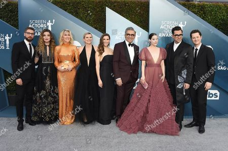 Dustin Milligan, Annie Murphy, Catherine O'Hara, Jennifer Robertson, Sarah Levy, Eugene Levy, Emily Hampshire, Dan Levy, Noah Reid. Dustin Milligan, from left, Annie Murphy, Catherine O'Hara, Jennifer Robertson, Sarah Levy, Eugene Levy, Emily Hampshire, Dan Levy and Noah Reid arrive at the 26th annual Screen Actors Guild Awards at the Shrine Auditorium & Expo Hall, in Los Angeles