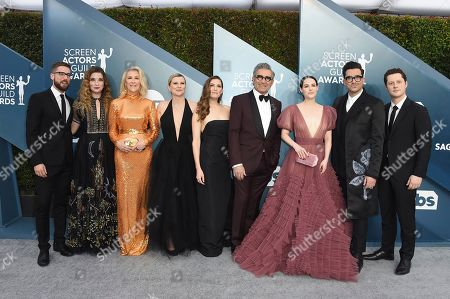 Stock Photo of Dustin Milligan, Annie Murphy, Catherine O'Hara, Jennifer Robertson, Sarah Levy, Eugene Levy, Emily Hampshire, Dan Levy, Noah Reid. Dustin Milligan, from left, Annie Murphy, Catherine O'Hara, Jennifer Robertson, Sarah Levy, Eugene Levy, Emily Hampshire, Dan Levy and Noah Reid arrive at the 26th annual Screen Actors Guild Awards at the Shrine Auditorium & Expo Hall, in Los Angeles