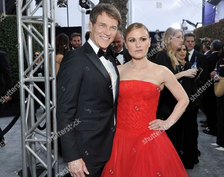 Stephen Moyer, Anna Paquin. Stephen Moyer, left, and Anna Paquin arrive at the 26th annual Screen Actors Guild Awards at the Shrine Auditorium & Expo Hall, in Los Angeles