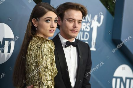 Natalia Dyer, Charlie Heaton. Natalia Dyer, left, and Charlie Heaton arrive at the 26th annual Screen Actors Guild Awards at the Shrine Auditorium & Expo Hall, in Los Angeles