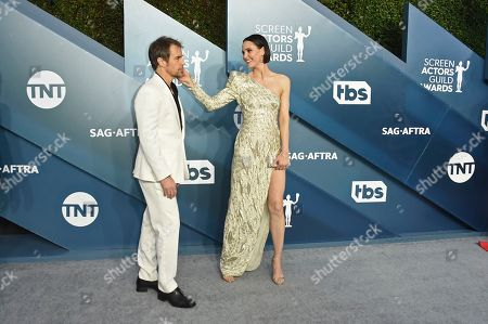 Sam Rockwell, Leslie Bibb. Sam Rockwell, left, and Leslie Bibb arrive at the 26th annual Screen Actors Guild Awards at the Shrine Auditorium & Expo Hall, in Los Angeles