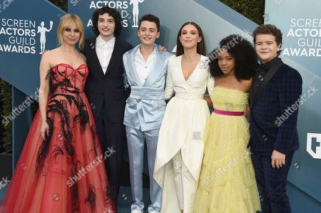 Cara Buono, Finn Wolfhard, Noah Schnapp, Millie Bobby Brown, Priah Ferguson, Gaten Matarazzo. Cara Buono, from left, Finn Wolfhard, Noah Schnapp, Millie Bobby Brown, Priah Ferguson, and Gaten Matarazzo arrive at the 26th annual Screen Actors Guild Awards at the Shrine Auditorium & Expo Hall, in Los Angeles
