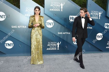 Stock Photo of Natalia Dyer, Charlie Heaton. Natalia Dyer, left, and Charlie Heaton arrive at the 26th annual Screen Actors Guild Awards at the Shrine Auditorium & Expo Hall, in Los Angeles