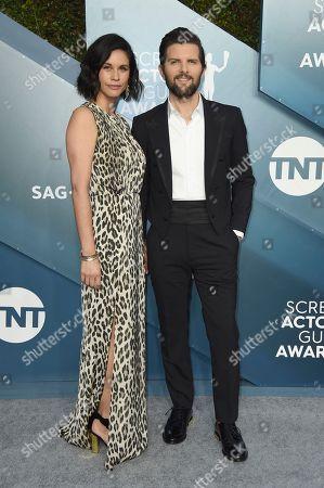 Naomi Scott, Adam Scott. Naomi Scott, left, and Adam Scott arrive at the 26th annual Screen Actors Guild Awards at the Shrine Auditorium & Expo Hall, in Los Angeles
