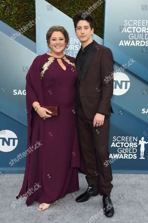 Camryn Manheim, Milo Manheim. Camryn Manheim, left, and Milo Manheim arrive at the 26th annual Screen Actors Guild Awards at the Shrine Auditorium & Expo Hall, in Los Angeles