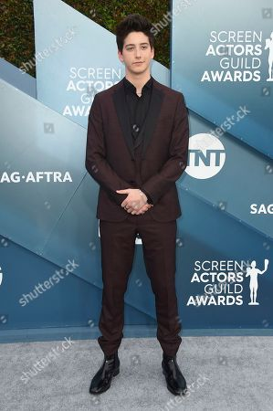 Milo Manheim arrives at the 26th annual Screen Actors Guild Awards at the Shrine Auditorium & Expo Hall, in Los Angeles