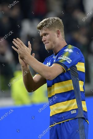Stock Image of Andreas Cornelius of Parma thanks the supporters at the end of the game