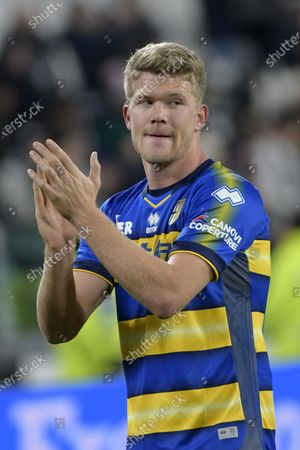 Stock Photo of Andreas Cornelius of Parma thanks the supporters at the end of the game