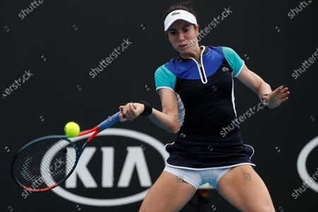 Christina McHale of USA in action during her women's singles first round match against  Petra Martic of Croatia at the Australian Open Grand Slam tennis tournament in Melbourne, Australia, 20 January 2020.