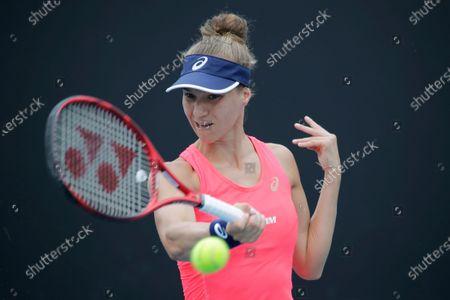 Viktorija Golubic of Switzerland in action during her women's singles first round match against Zhu Lin of China at the Australian Open Grand Slam tennis tournament in Melbourne, Australia, 20 January 2020.